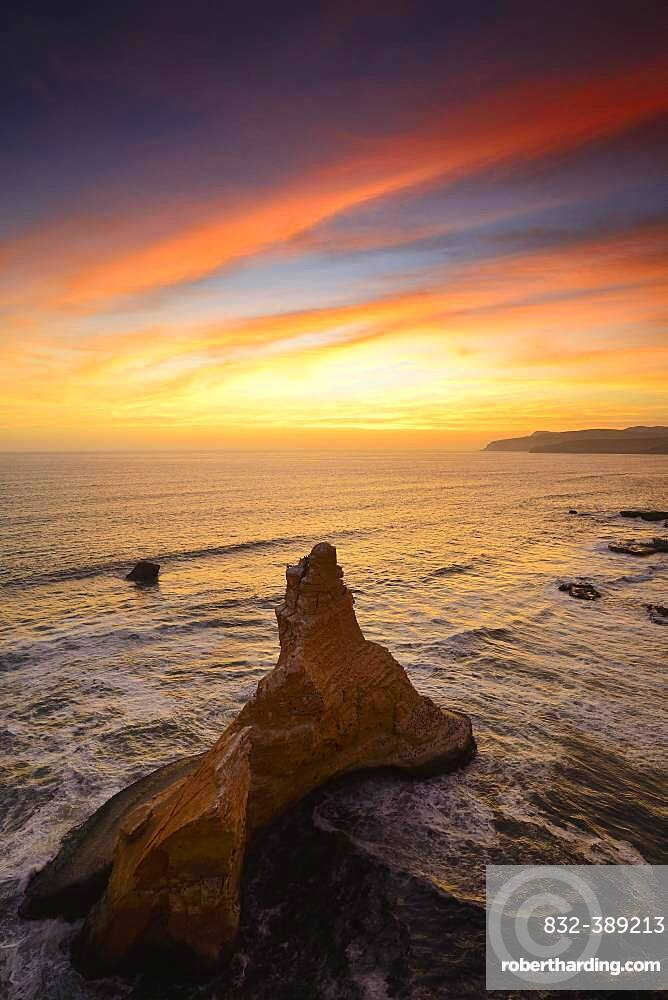 Evening mood over the rock Catedral at Playa Supay, Paracas National Reserve, Paracas, Ica Region, Peru, South America