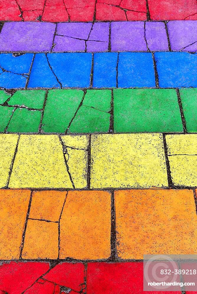 Colorful painted stone slabs, pavement in the colors of the rainbow, background picture, Seyoisfjoerour, Seydisfjoerdur, East Iceland, Iceland, Europe