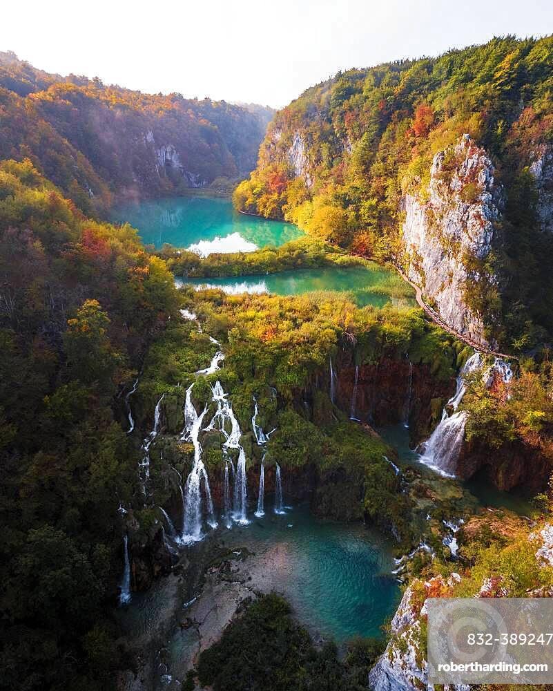 Aerial view, waterfall with Plitvice Lakes in autumn, National Park Plitvice Lakes, Dalmatia, Croatia, Europe