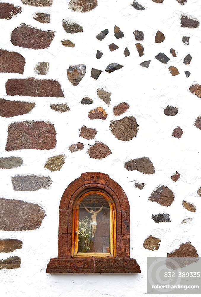Martyrdom on a house wall in the mountain village Masca, Masca gorge, Teno Mountains, Tenerife, Canary Islands, Spain, Europe
