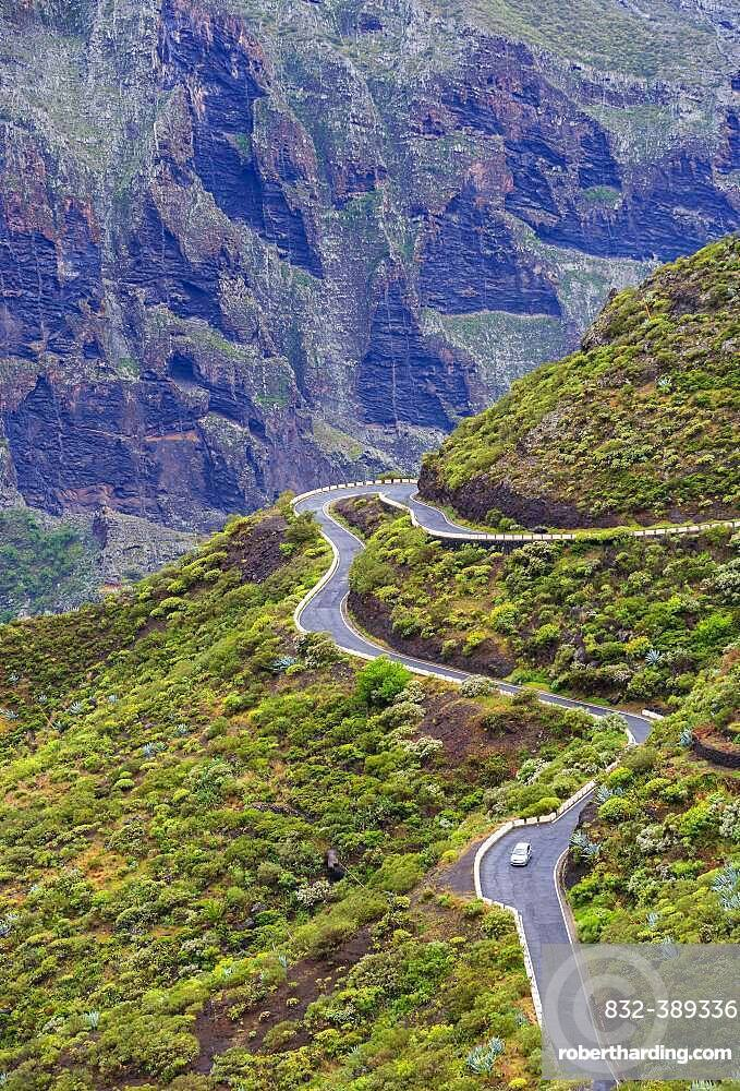 Serpentine road in the Teno Mountains near the mountain village Masca, Masca Gorge, Teno Mountains, Tenerife, Canary Islands, Spain, Europe
