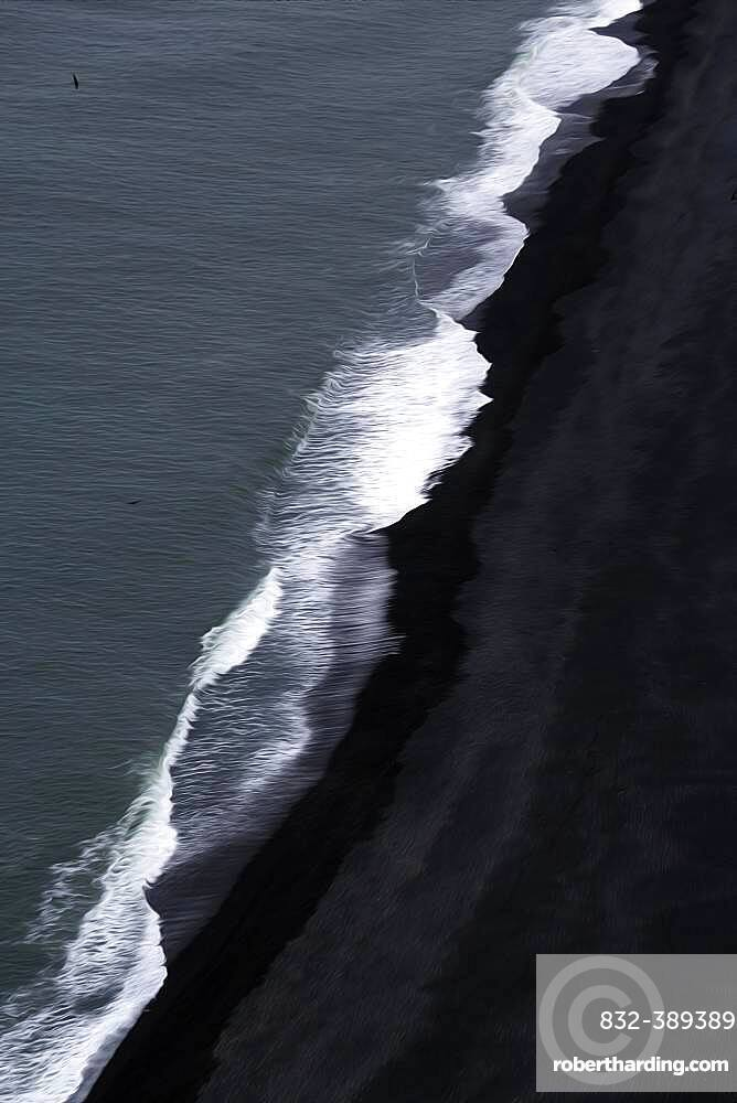 View from above on waves at the shore, black lava beach at the North Atlantic, motion blur, Cape Dyrholaey, Vik i Myrdal, Southern Iceland, Iceland, Europe