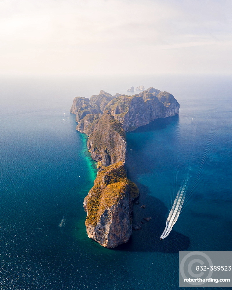 Aerial view, Koh Phi Phi Leh from the front to sunrise, Tropical Island, Koh Phi Phi, Krabi Province, Thailand, Asia