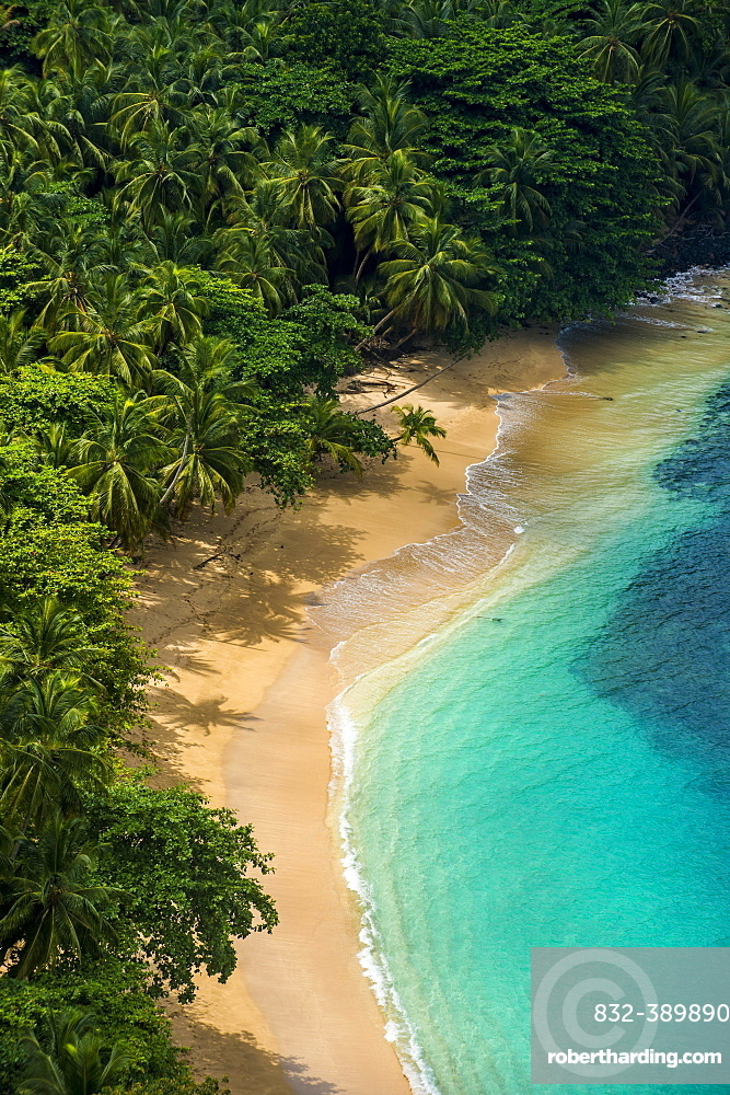 Overlook over banana beach, Unesco biosphere reserve, Principe, Sao Tome and Principe, Atlantic Ocean, Africa