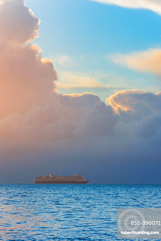View of Cruise ferry during the sunrise, Devon, England, Great Britain