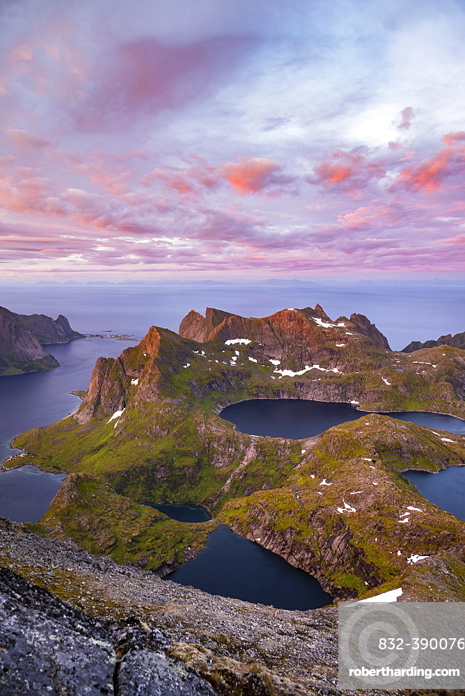 Evening atmosphere, mountain landscape with Reinefjord and lake, view from the top of Hermannsdalstinden, Moskenesoey, Lofoten, Nordland, Norway, Europe