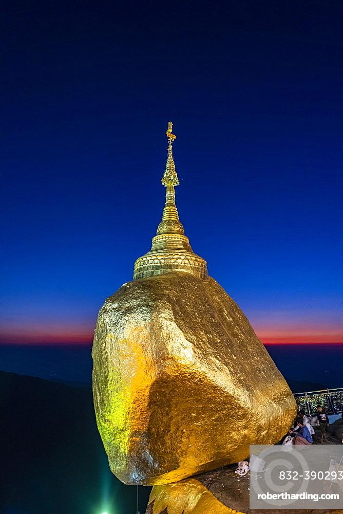 Kyaiktiyo Pagoda, golden rock after sunset, Mon state, Myanmar, Asia