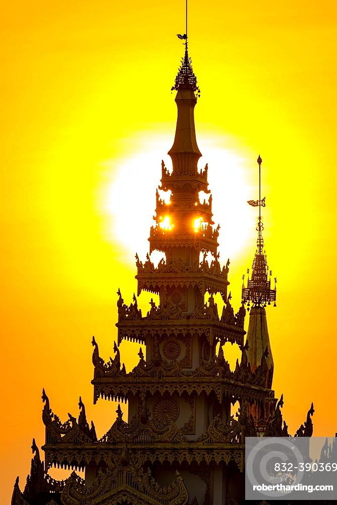 Shwedagon pagoda at sunset, Yangon, Myanmar, Asia