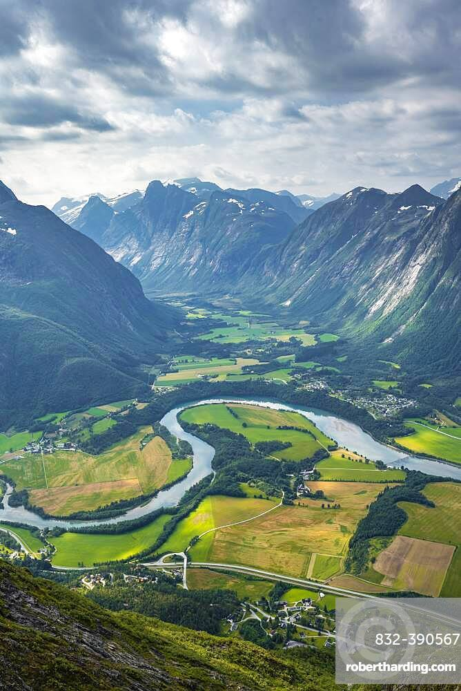 View from the hike Romsdalseggen, mountain ridge, Rauma river, Romsdalfjellene mountains, Andalsnes, More og Romsdal, Norway, Europe