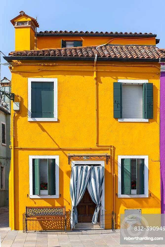 Colorful houses, colorful facade, Burano Island, Venice, Veneto, Italy, Europe