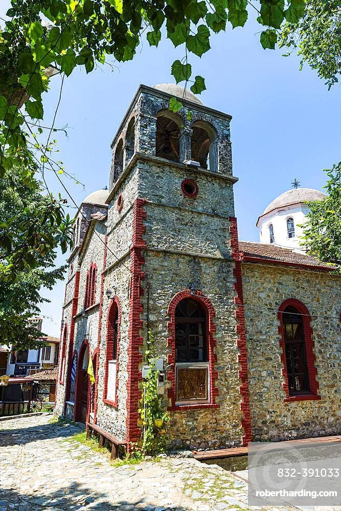 Church in the mountain village Palaios Panteleimonas, Mount Olympus, Greece, Europe