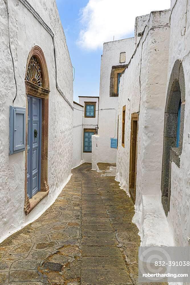 White washed houses, Unesco world heritage site, Monastery of Saint John the Theologian, Chora, Patmos, Greece, Europe