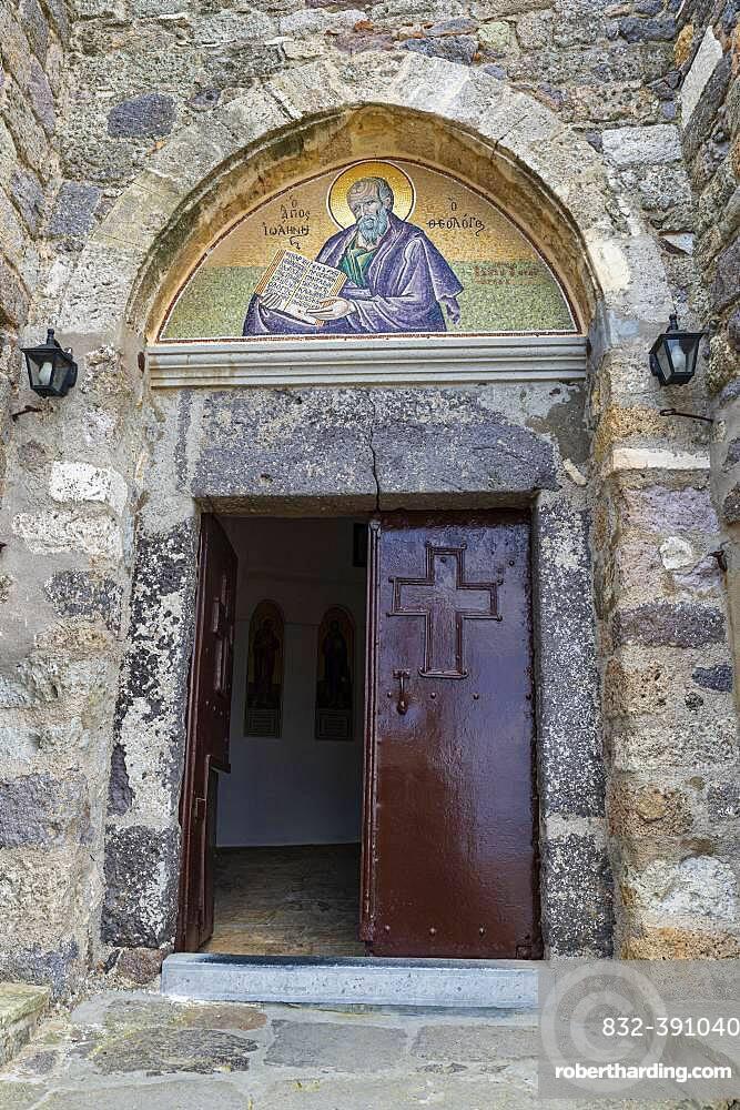 Entrance to the Unesco world heritage site, Monastery of Saint John the Theologian, Chora, Patmos, Greece, Europe