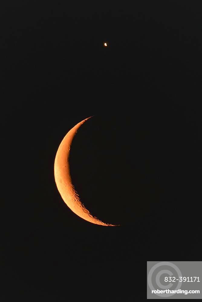 Moon and Venus, Night, Sky, Star, Kutno, Poland, Europe