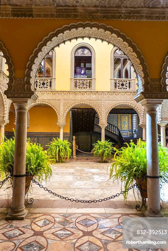 Courtyard with Roman mosaic, Moorish architecture, Palacio de la Condesa de Lebrija, Seville, Andalusia, Spain, Europe