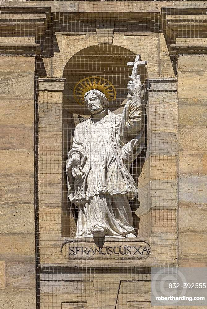 Sculpture of St. Francis on the main facade of the parish church of St.Martin, Bamberg, Upper Franconia, Bavaria, Germany, Europe
