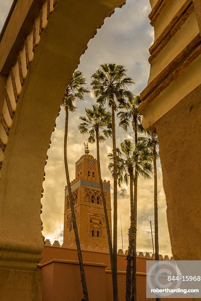 View of Koutoubia Mosque and palm trees through archway, UNESCO World Heritage Site, Marrakesh (Marrakech), Morocco, North Africa, Africa