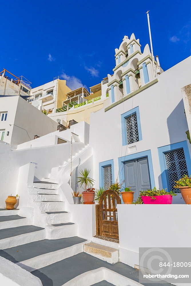 View of traditional Greek church, Firostefani, Santorini (Thira), Cyclades Islands, Greek Islands, Greece, Europe