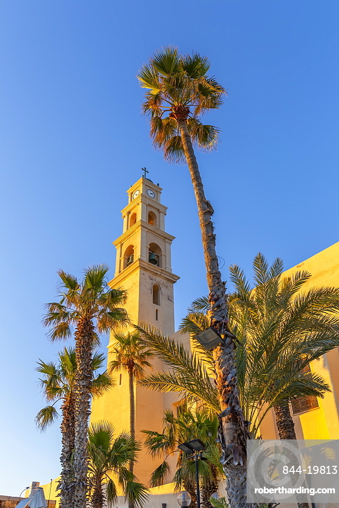 View of St. Peter's Church clock tower in Jaffa Old Town at sunset, Tel Aviv, Israel, Middle East