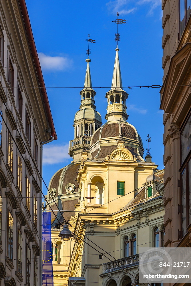 View of colourful architecture and the Rathaus visible in background, Graz, Styria, Austria, Europe