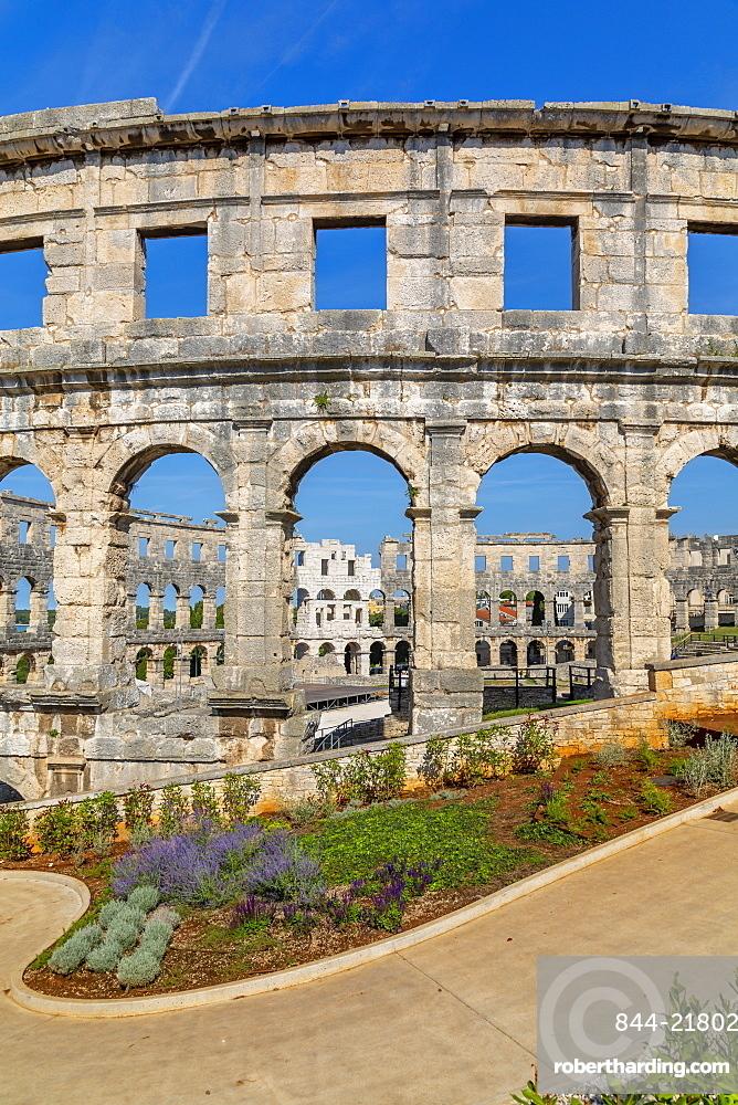 View of the Amphitheatre, Pula, Istria County, Croatia, Adriatic, Europe
