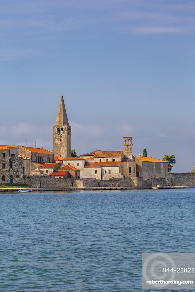 View of Old Town of Porec and Adriatic Sea, Porec, Istria, Region, Croatia, Europe
