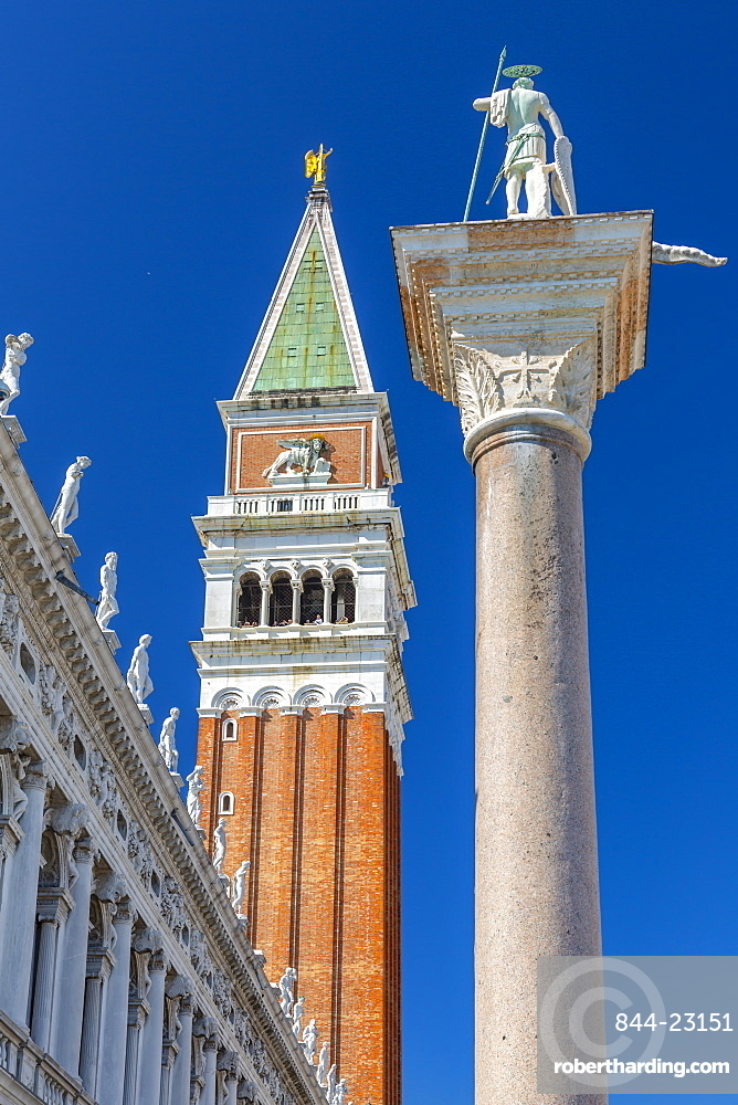View of the Campanile and statue in St. Mark's Square, Venice, UNESCO World Heritage Site, Veneto, Italy, Europe