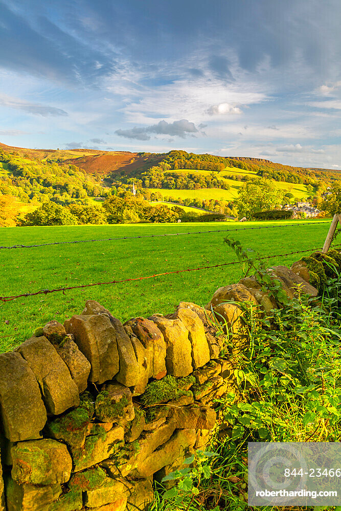 View of Hathersage and countryside autumnal colours, Derbyshire Peak District, England, United Kingdom, Europe