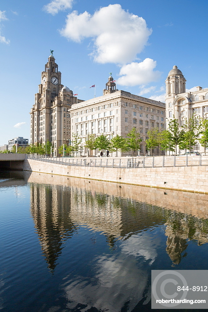 Royal Liver Building, Cunard Building and Port of Liverpool Building, Liverpool, Merseyside, England, United Kingdom, Europe