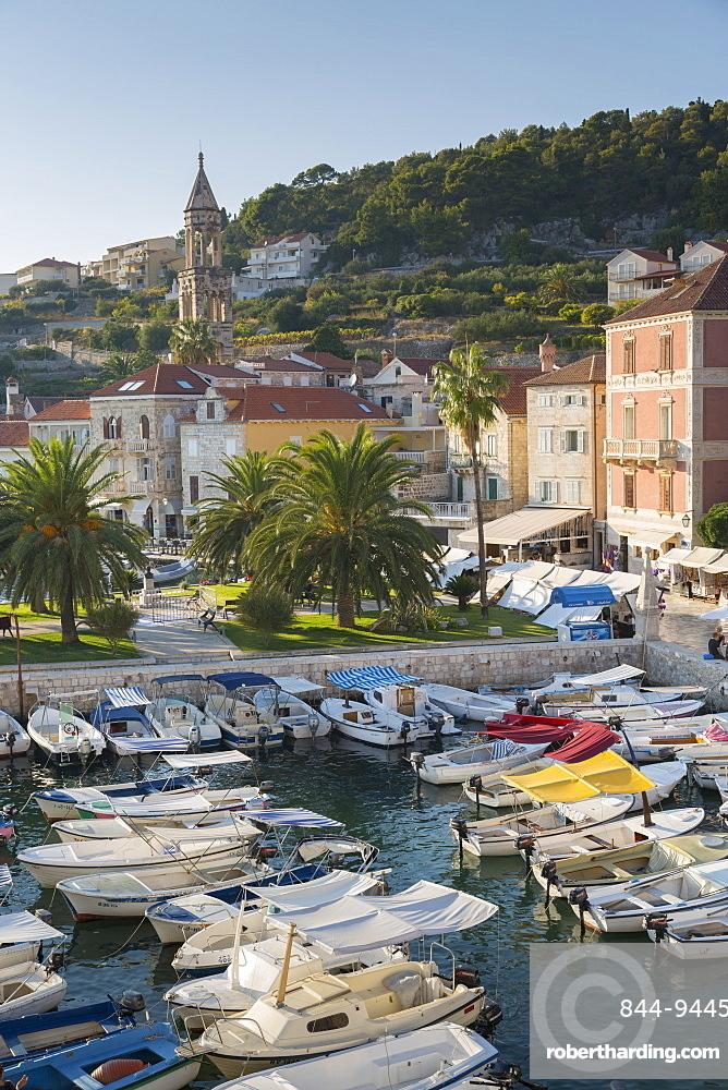 View of Hvar Harbour, Hvar Island, Dalmatia, Croatia, Europe