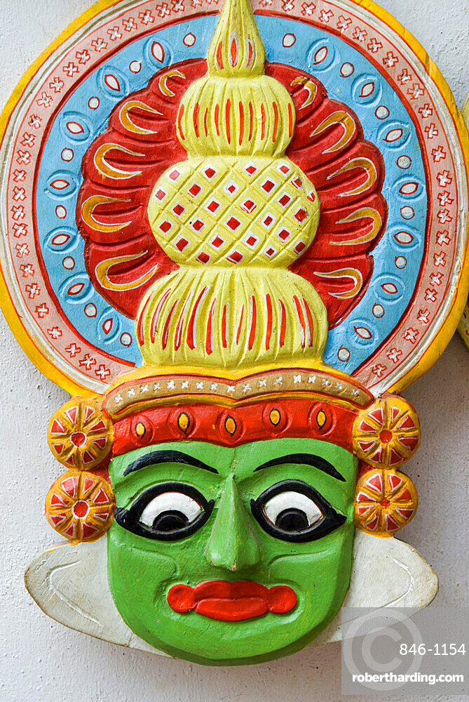Mask of Kathakali Dancer, Kerala, India, Asia