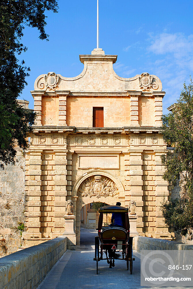 Mdina Gate with horse drawn carriage, Mdina, Malta, Mediterranean, Europe