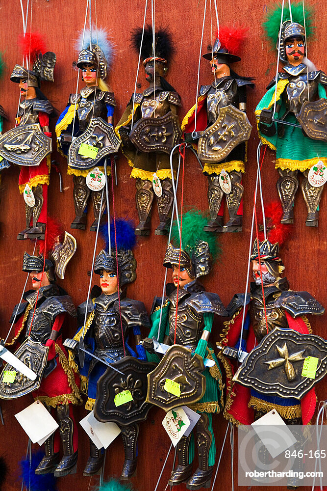 Traditional puppets in souvenir shop, Sicily, Italy, Europe