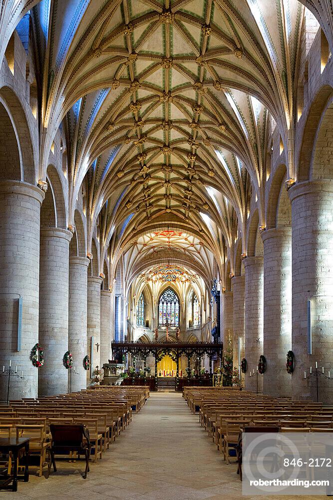 Nave of Tewkesbury Abbey (Abbey Church of St. Mary the Virgin), Tewkesbury, Gloucestershire, England, United Kingdom, Europe