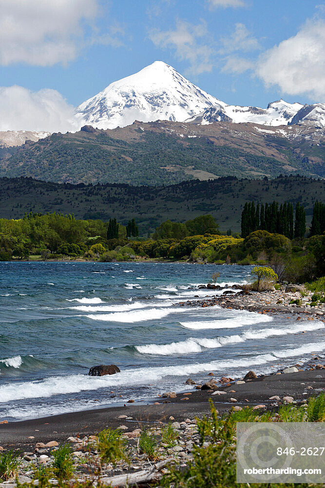 Lanin volcano and Lago Huechulafquen, Lanin National Park, near Junin de los Andes, The Lake District, Argentina, South America