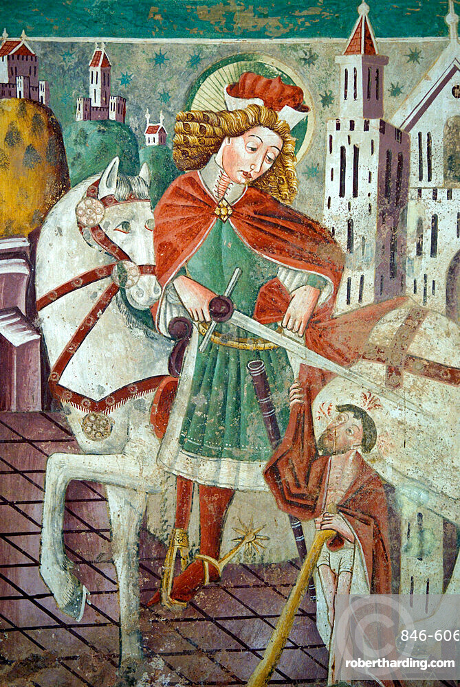 Detail of fresco dating from 1475, Chapel of Our Lady of the Rocks, Beram, Istria, Croatia, Europe
