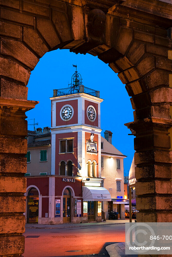 Trg Marsala Tita (main Square) at dusk, Rovinj, Istria, Croatia, Europe
