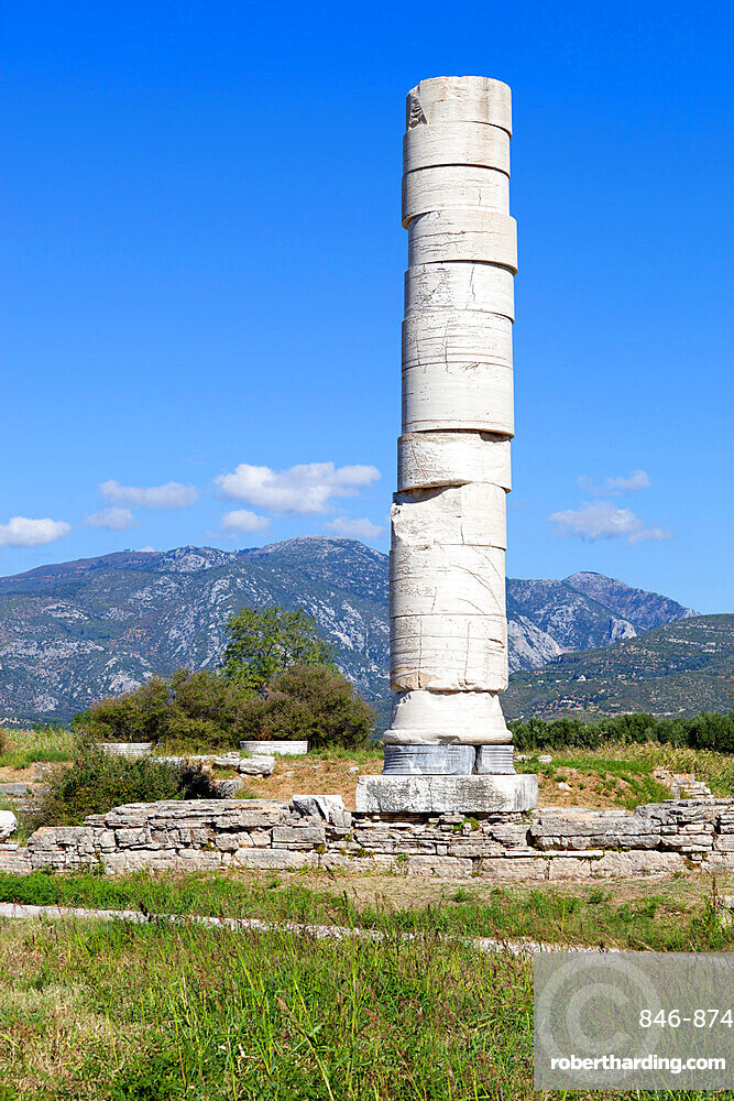 Ireon archaeological site with column of the Temple of Hera, Ireon, Samos, Aegean Islands, Greece