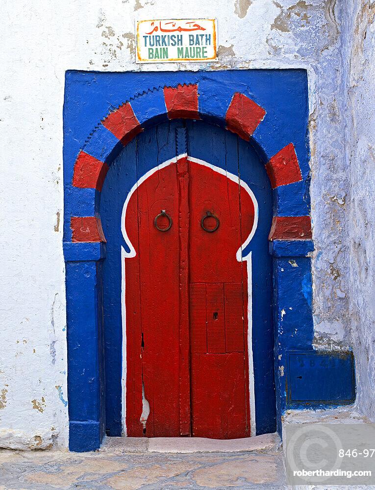 Doorway to Turkish baths in the Medina, Hammamet, Cap Bon, Tunisia, North Africa, Africa