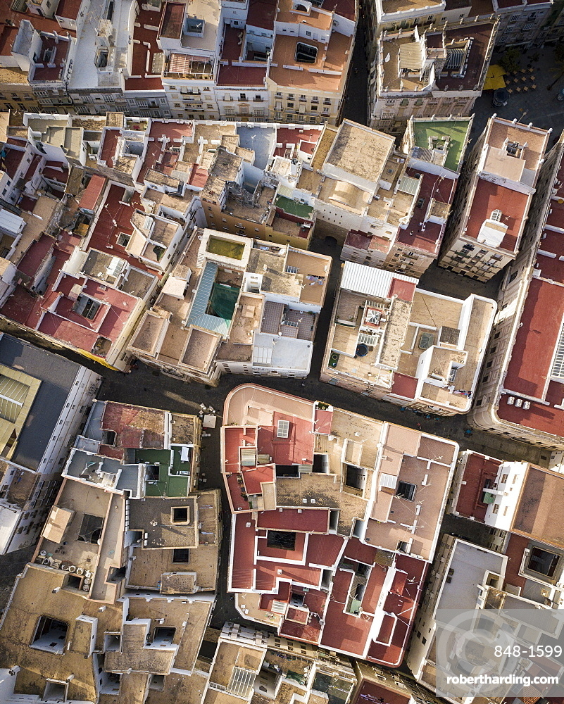 Aerial view by drone of Cadiz, Andalucia, Spain, Europe