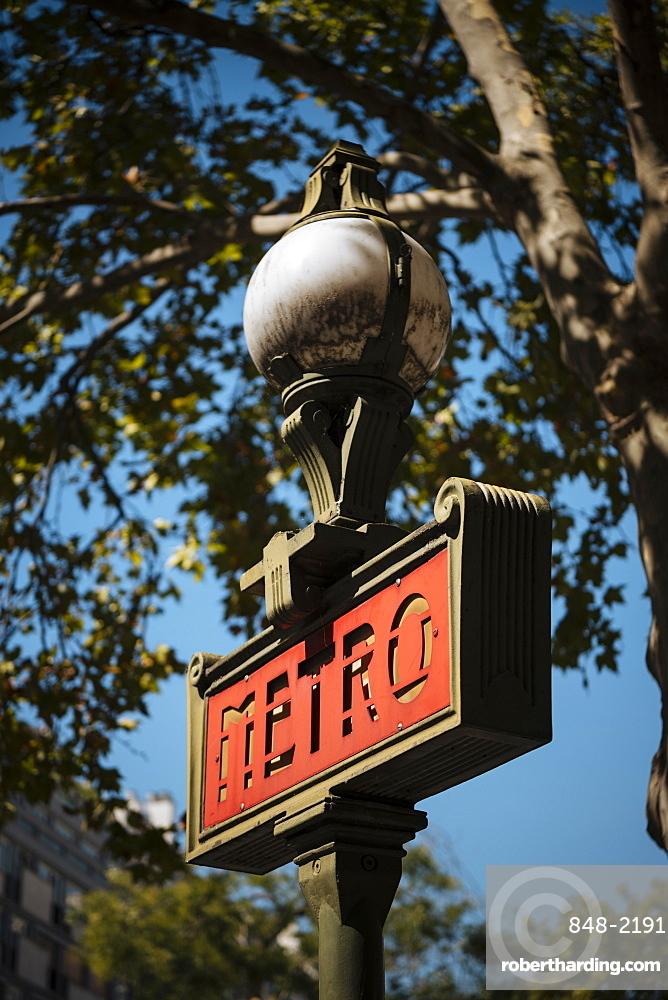 Metro Sign, Beaugrenelle, Paris, v?le-de-France, France, Europe