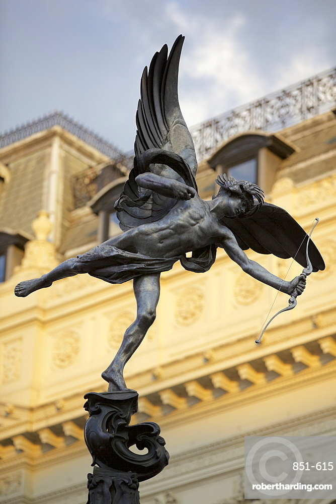 Eros statue in Piccadilly Circus, London, England, United Kingdom, Europe