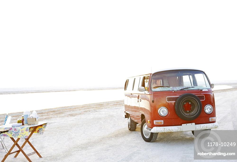 Van parked on beach