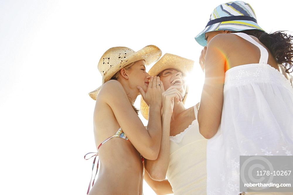 Friends gossiping on beach