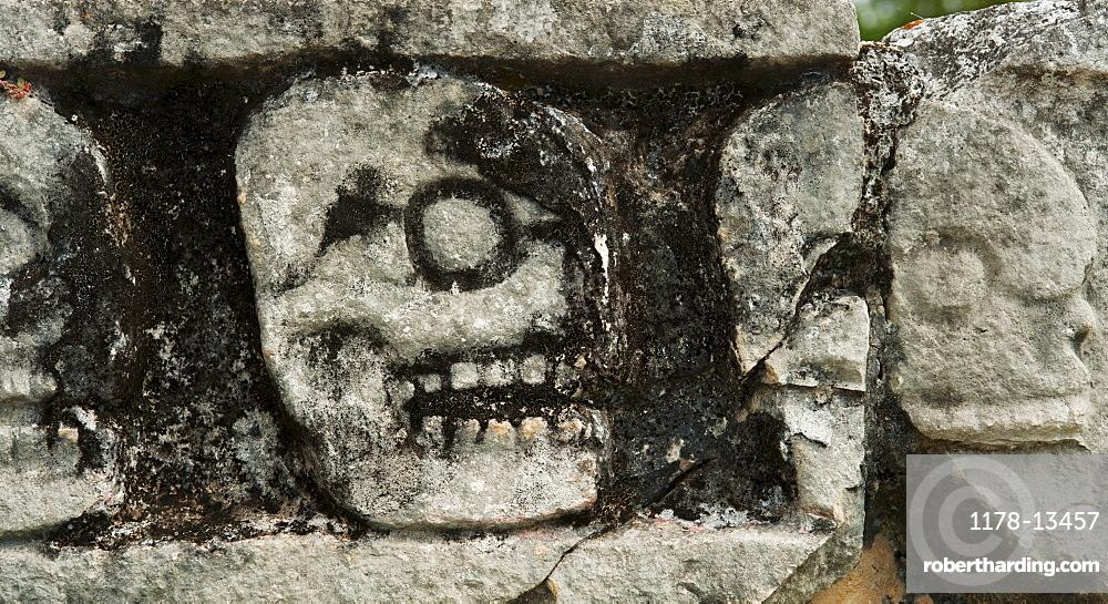 Mayan carvings representing human skulls