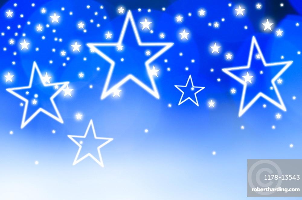 Stars on blue background, studio shot