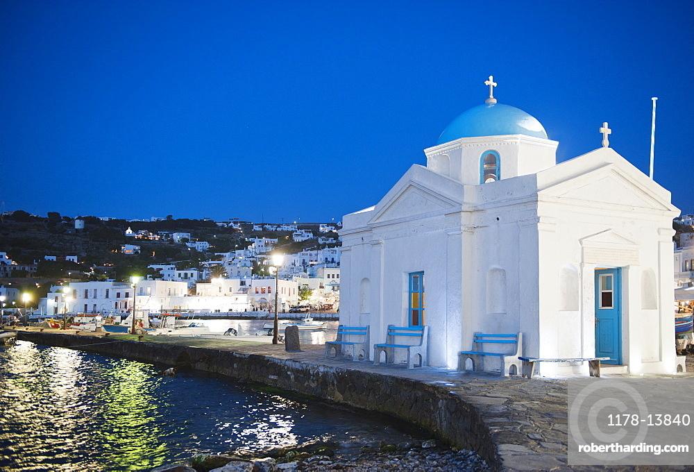 Greece, Cyclades Islands, Mykonos, Church in harbor