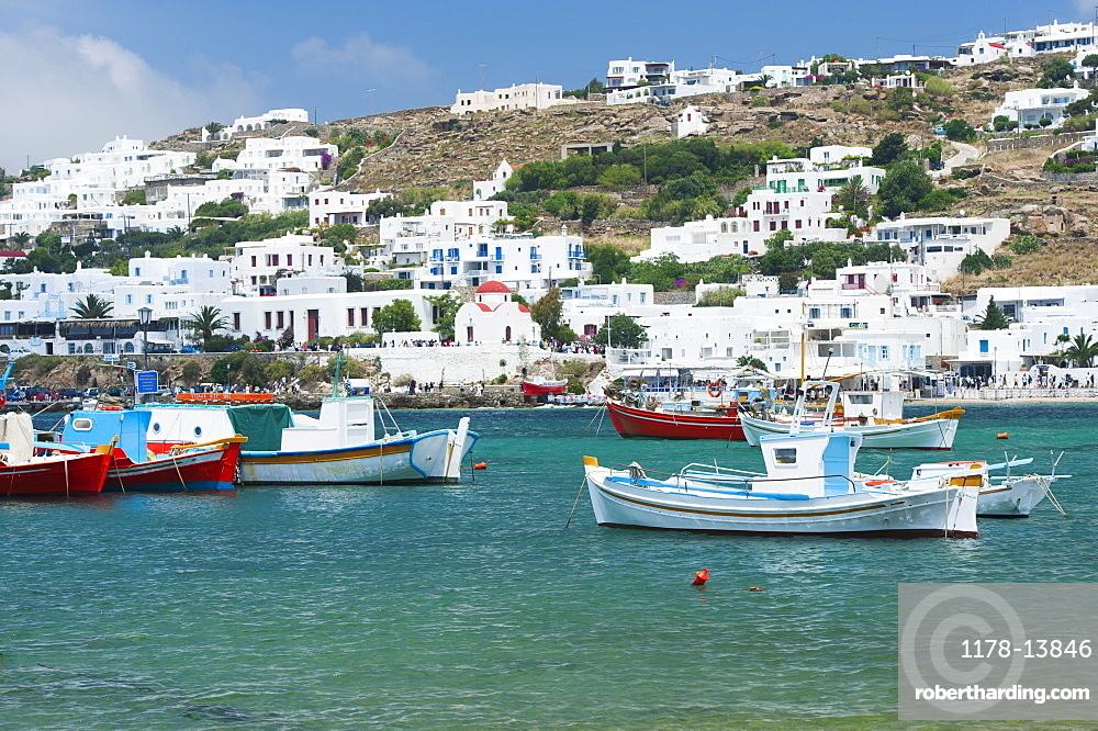 Greece, Cyclades Islands, Mykonos, Fishing boats in harbor