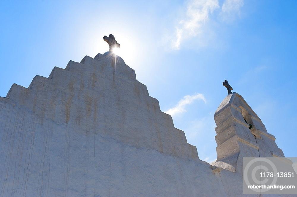 Greece, Cyclades Islands, Mykonos, Church bell tower with cross