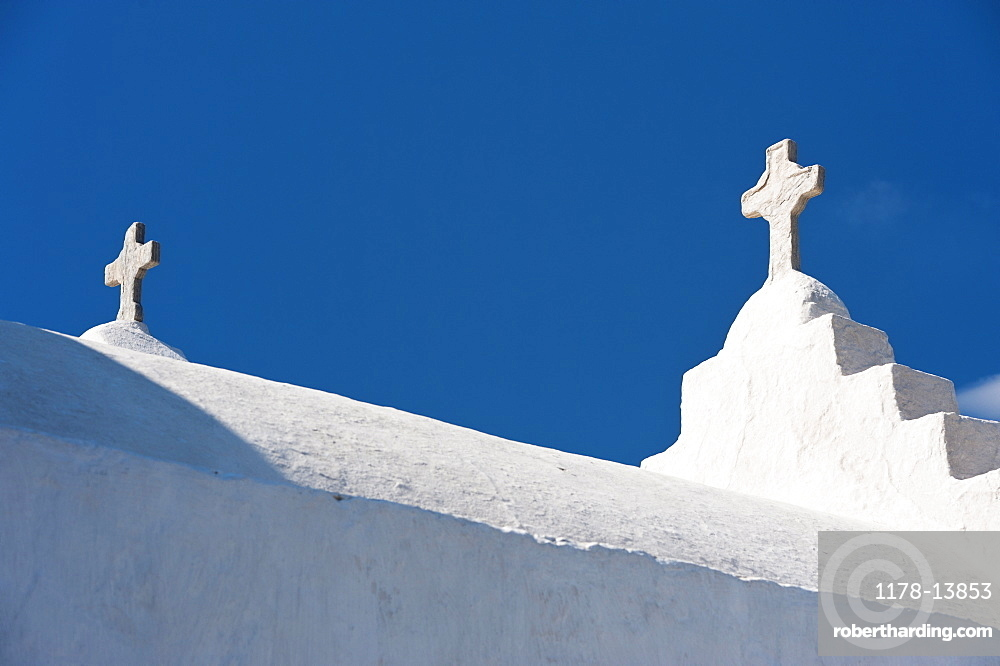 Greece, Cyclades Islands, Mykonos, Crosses on church roof